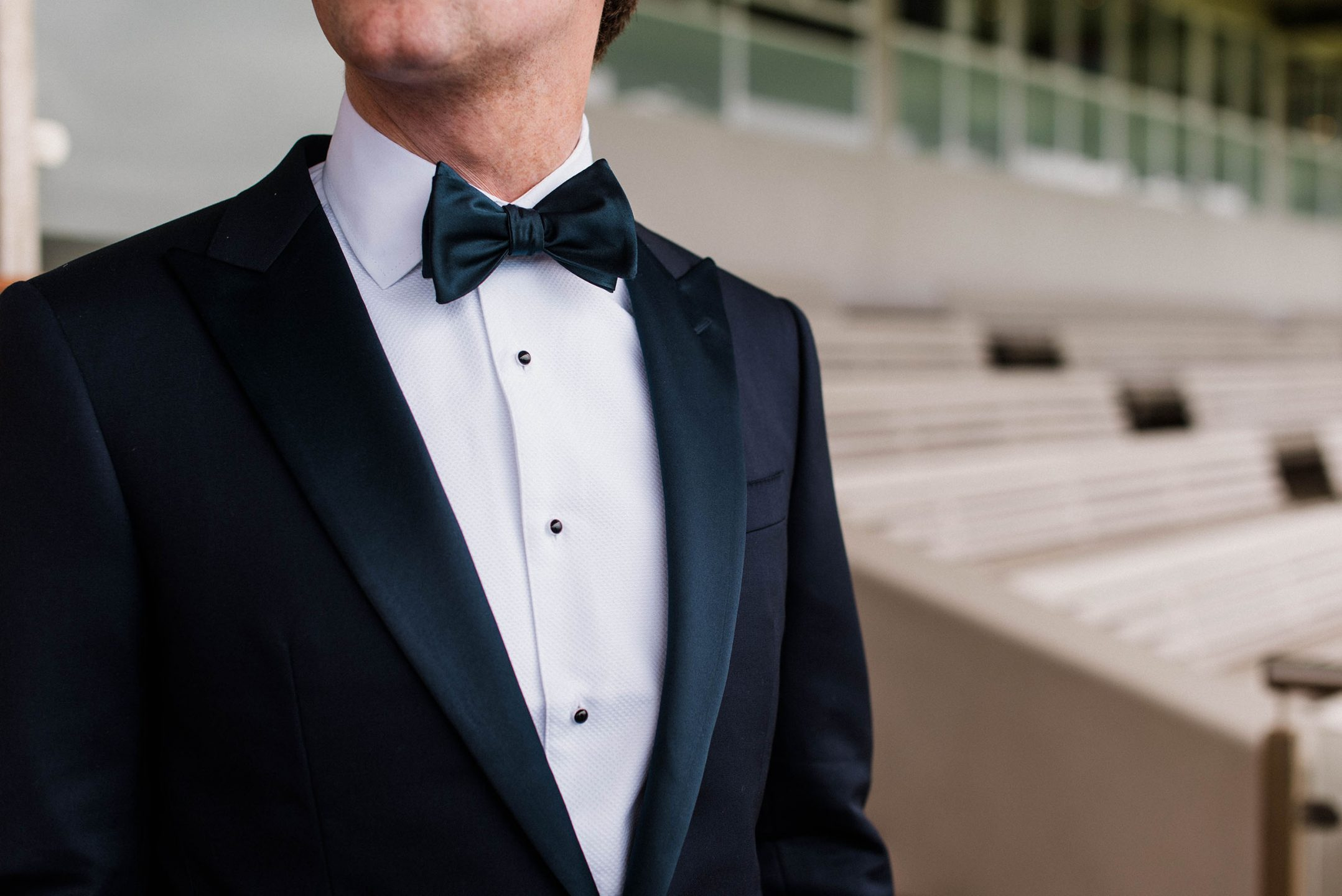 Man in Adelaide wearing made-to-measure suit with bow-tie