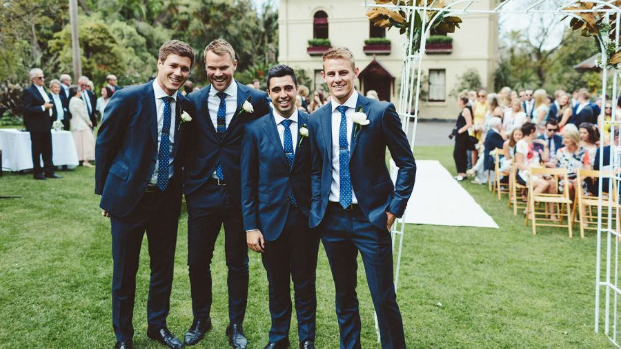 Groomsmen wearing made-to-measure tailored suits in Adelaide