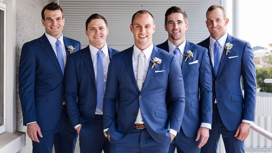Groomsmen in Adelaide wedding custom DELUCA Tailors suit