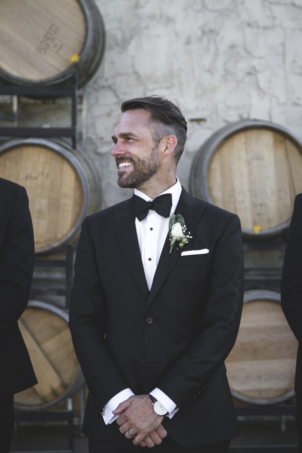 Groom in Adelaide wearing made-to-measure suit by DELUCA Tailors